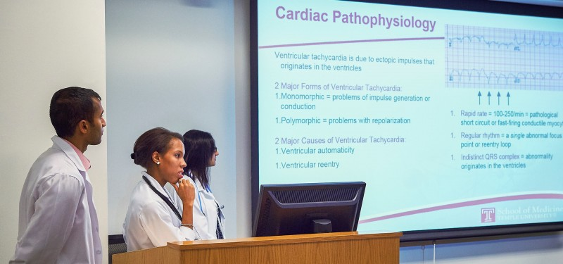 Temple medical students present finding to the class