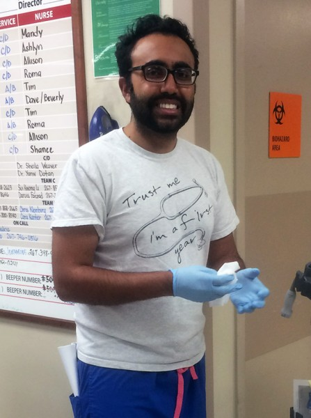 Zeeshan, a Temple Internal Medicine resident, at Temple University Hospital