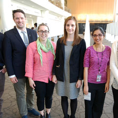 Pictured (left to right): Antonio Di Meco (2nd place oral presentation winner), Jeremy Hill (3rd place oral presentation winner), Lena Lupey-Green (1st place oral presentation winner), Sarah Tursi (Patrick Piggot Travel Award winner), Neeharika Nemani (2nd place poster winner), Meredith Manire (3rd place poster winner) and Timothy Luongo (1st place poster winner).