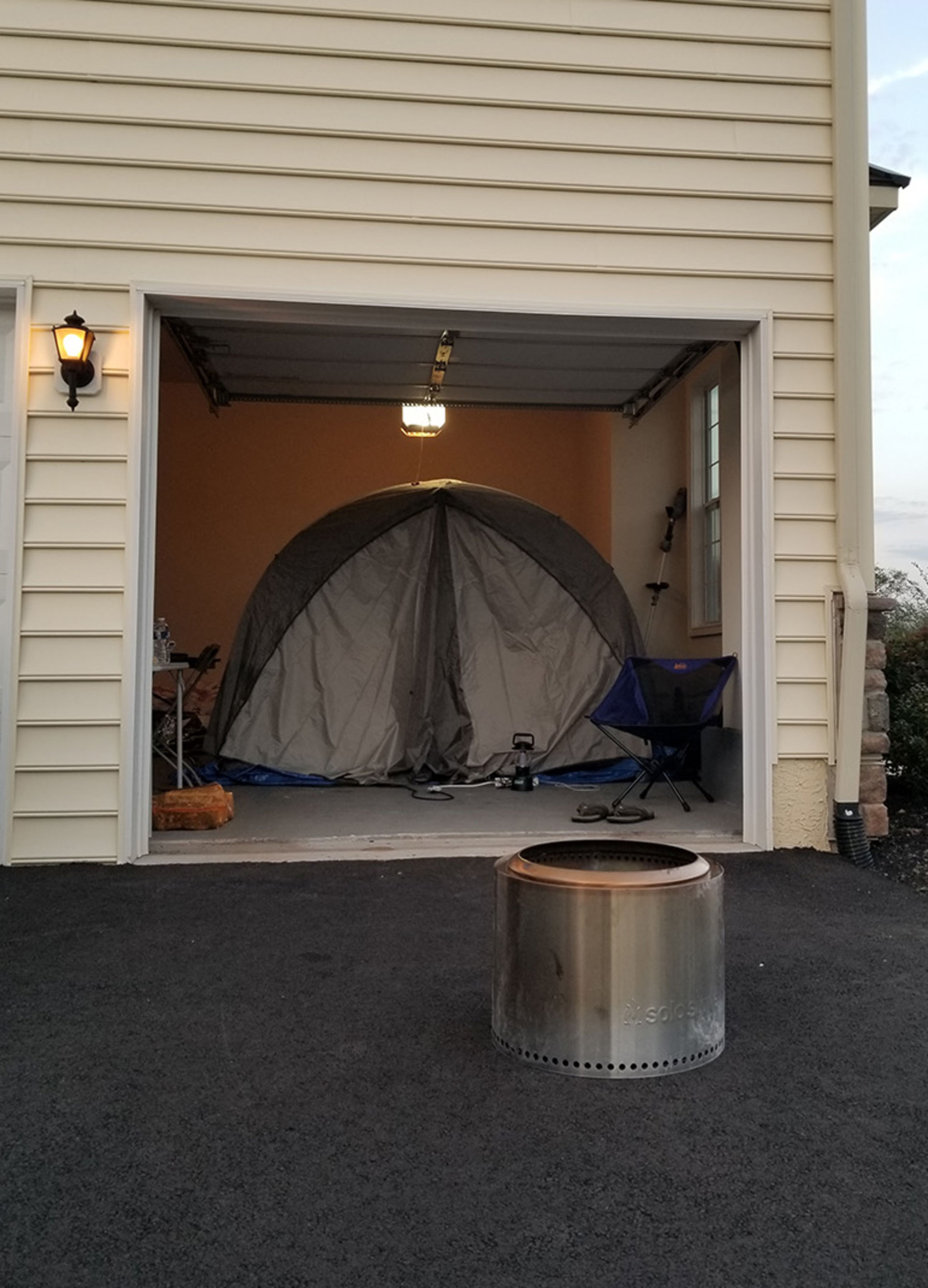 Tent that Dr. Soans set up in his parents garage